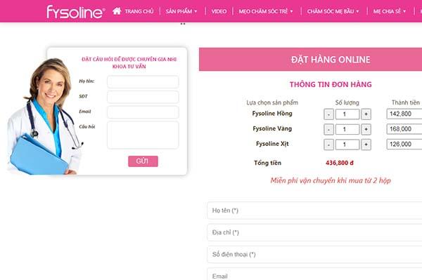 Giao diện mua hàng trên website